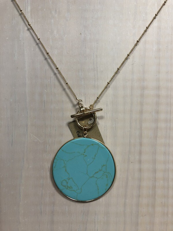Round Turquoise Color Pendant on Long Gold Chain
