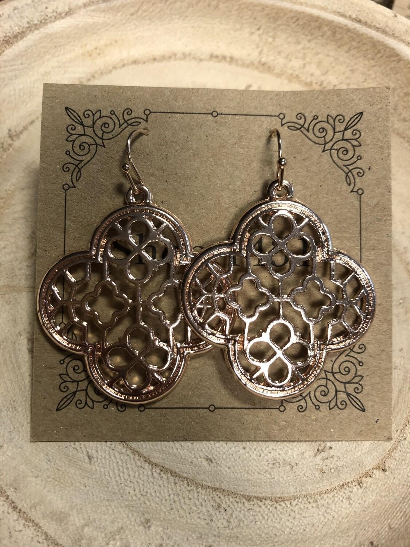 Rose Gold Quatrefoil Earrings