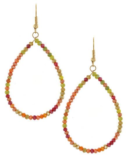 Semiprecious Stone Oval Hoop Earrings (Tropical Multicolor)