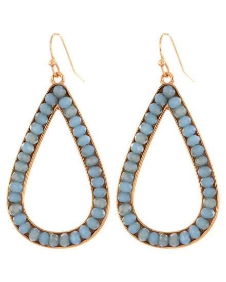 Faceted Turquoise Glass Teardrop Hoop Earrings