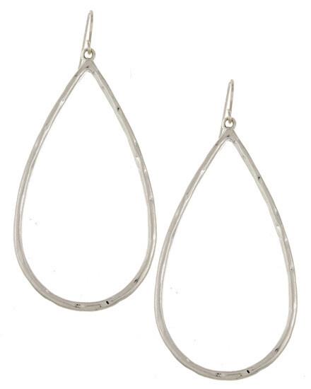 Silver Metal Teardrop Hoop Earrings