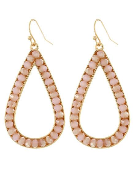 Faceted Pink Glass Teardrop Hoop Earrings