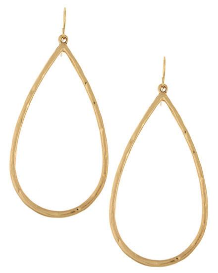 Worn Gold Metal Teardrop Hoop Earrings