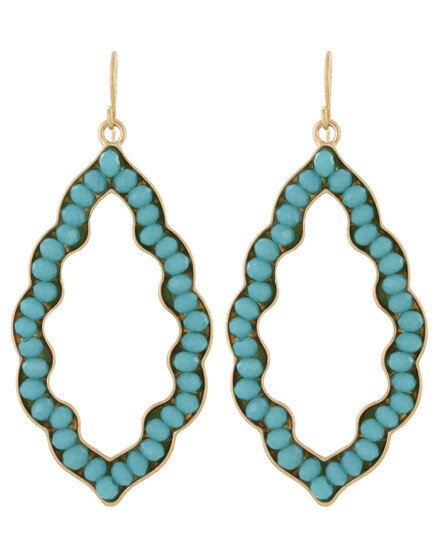 Moroccan Aqua Glass Beaded Earrings