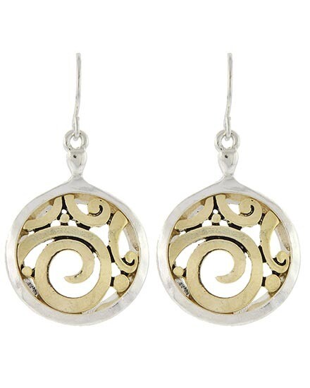 Silver & Gold Round Filigree Earrings