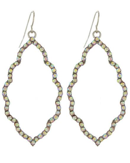 Gold Quatrefoil Hoop Earrings with Rhinestone Border
