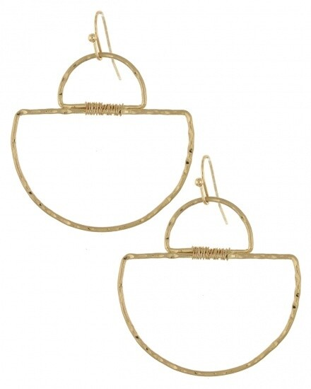 Wire Wrapped Semi-Circle Gold Earrings
