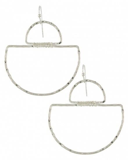 Wire Wrapped Semi-Circle Silver Earrings