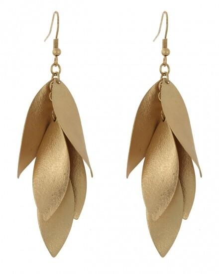 Gold Leaf Cluster Earrings