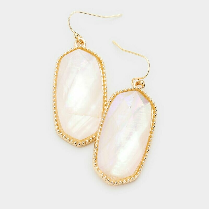 Mother of Pearl & Gold Hexagon Earrings