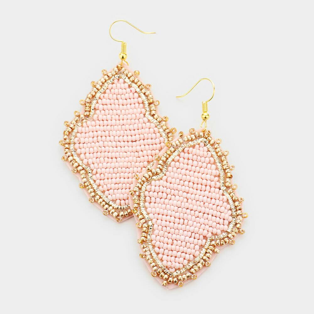 Light Pink & Gold Beaded Quatrefoil Earrings