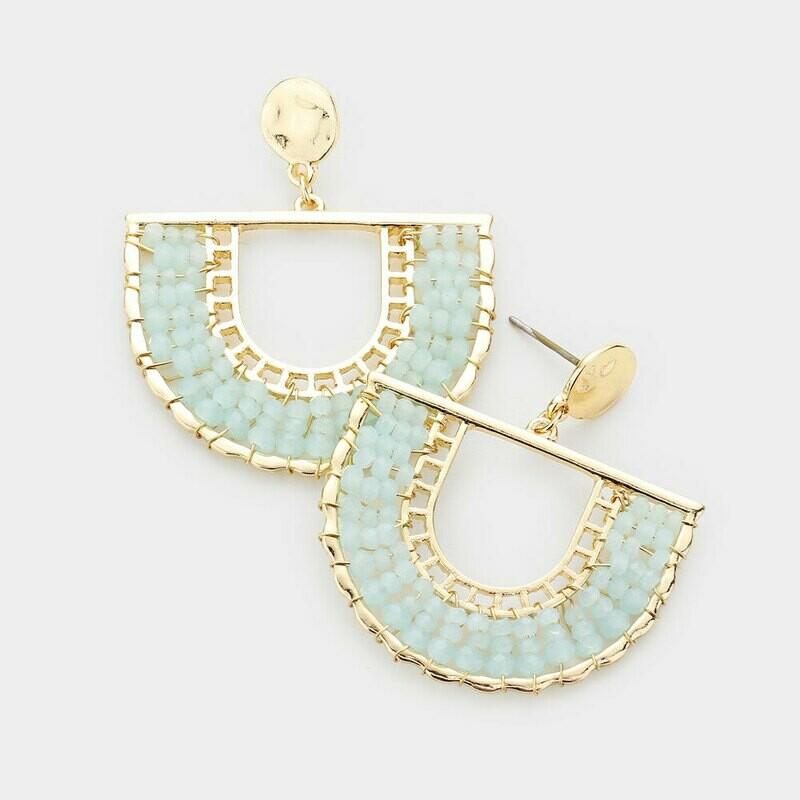 Light Blue & Gold Horseshoe Beaded Earrings
