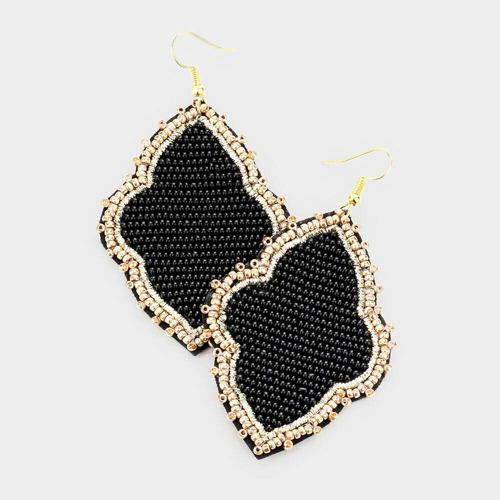 Black & Gold Beaded Quatrefoil Earrings