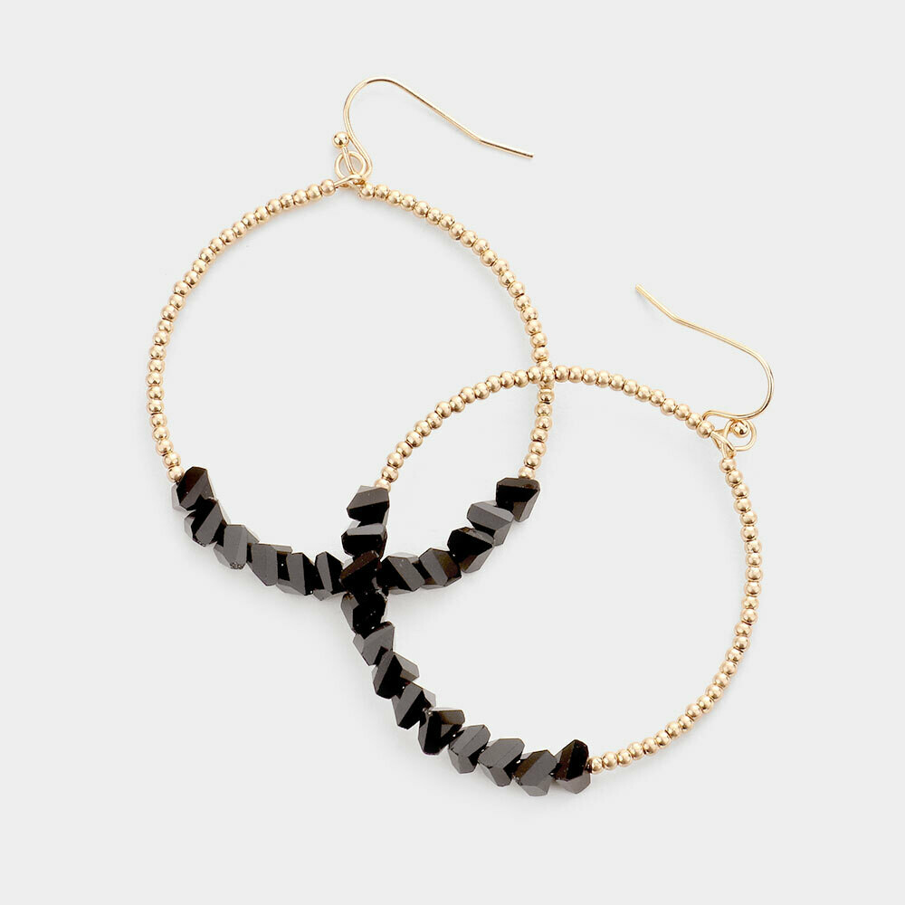 Gold Open Hoop Earrings with Black Chip Beading
