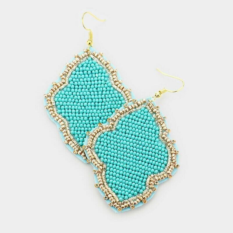Turquoise & Gold Beaded Quatrefoil Earrings