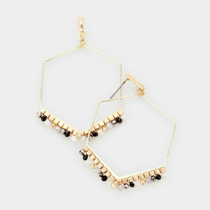 Gold Hexagon Hoop w/ Beading Earrings