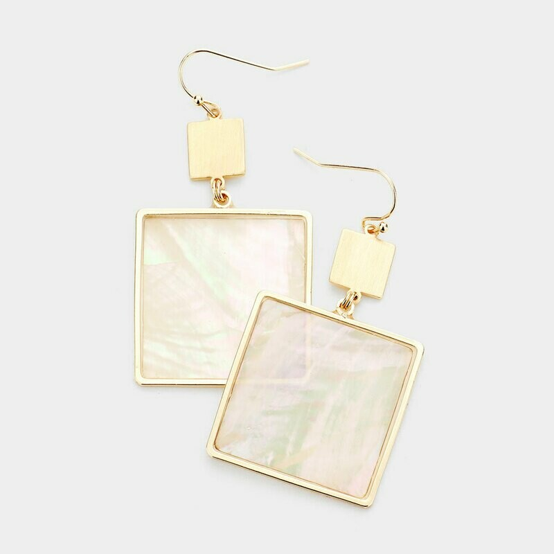 Mother of Pearl Gold Square Earrings
