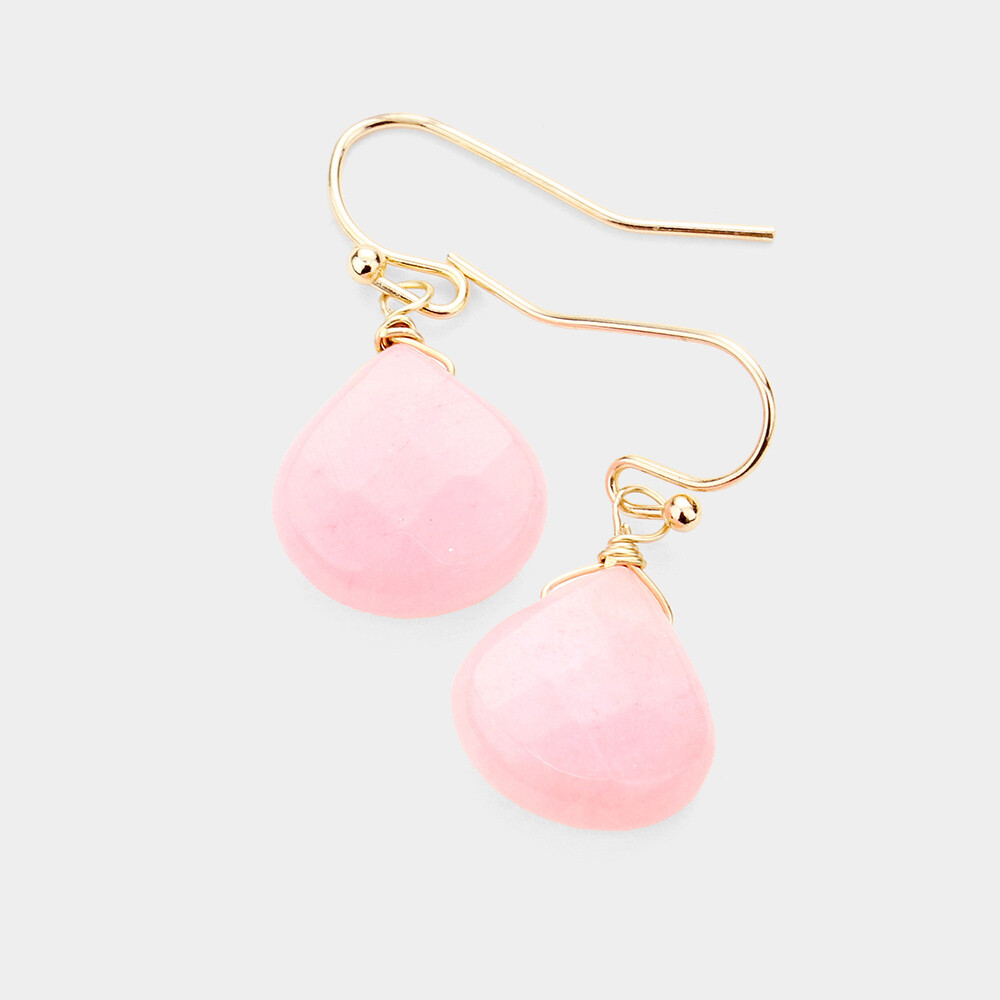 Light Pink Faceted Stone Earrings