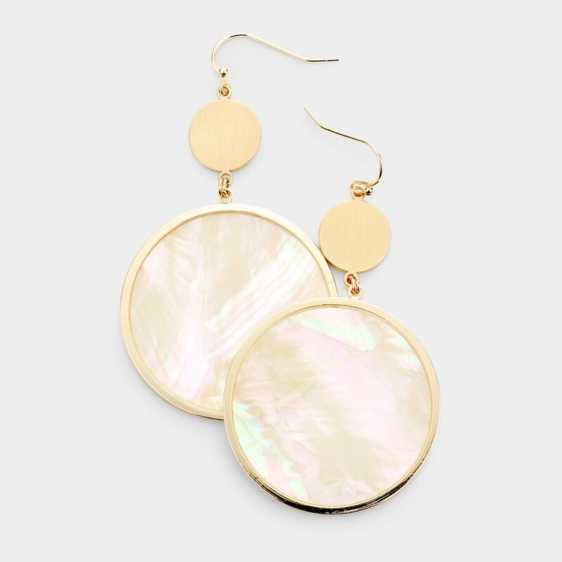 Mother of Pearl Gold Disc Earrings