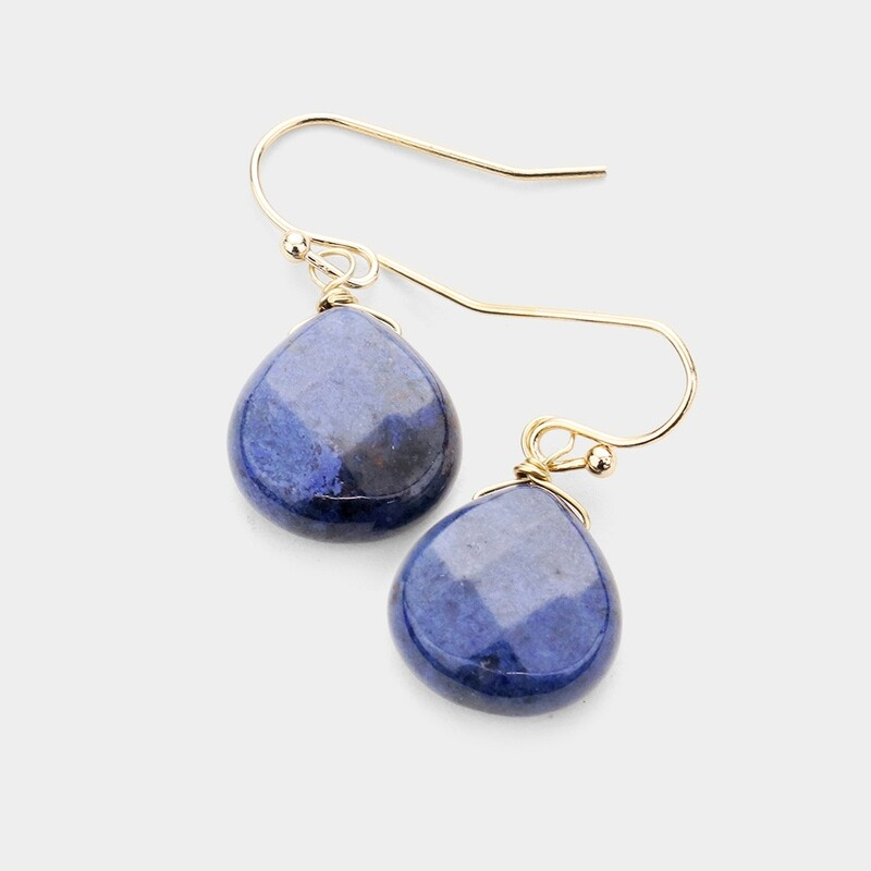 Dark Blue Faceted Stone Earrings
