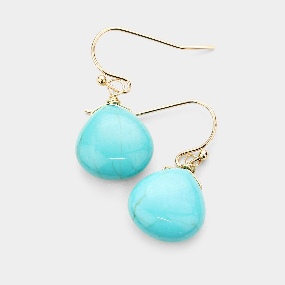 Turquoise Blue Faceted Stone Earrings