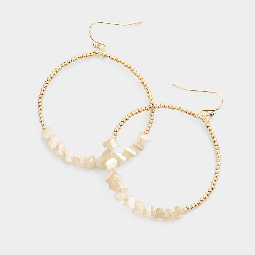 Gold Open Hoop Earrings with Ivory Chip Beading