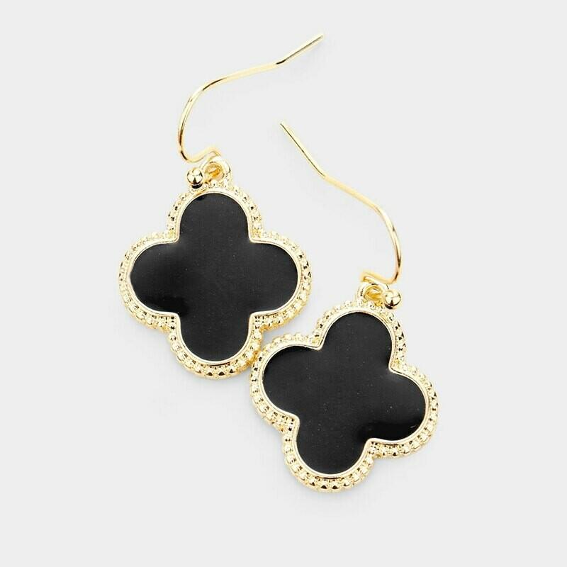Black & Gold Quatrefoil Earrings