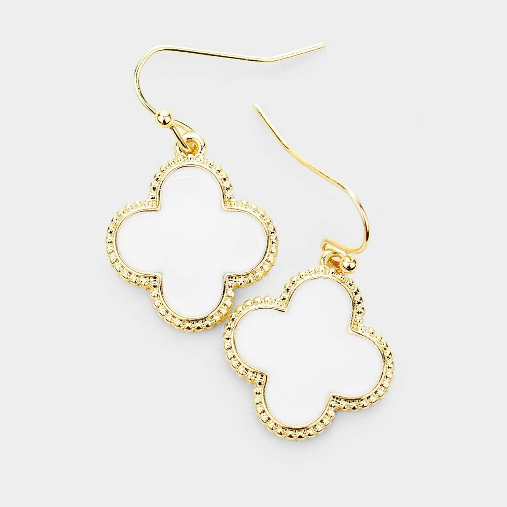 White & Gold Quatrefoil Earrings