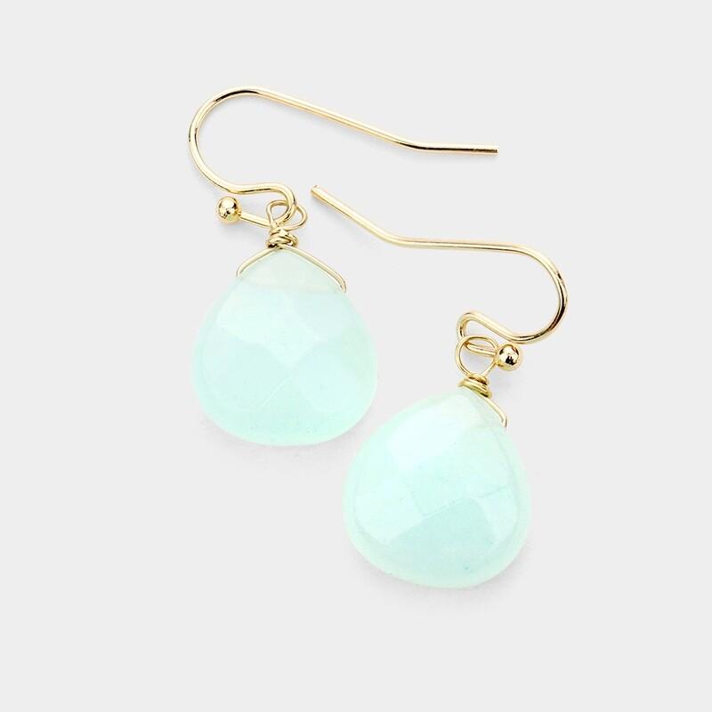 Light Blue Faceted Stone Earrings