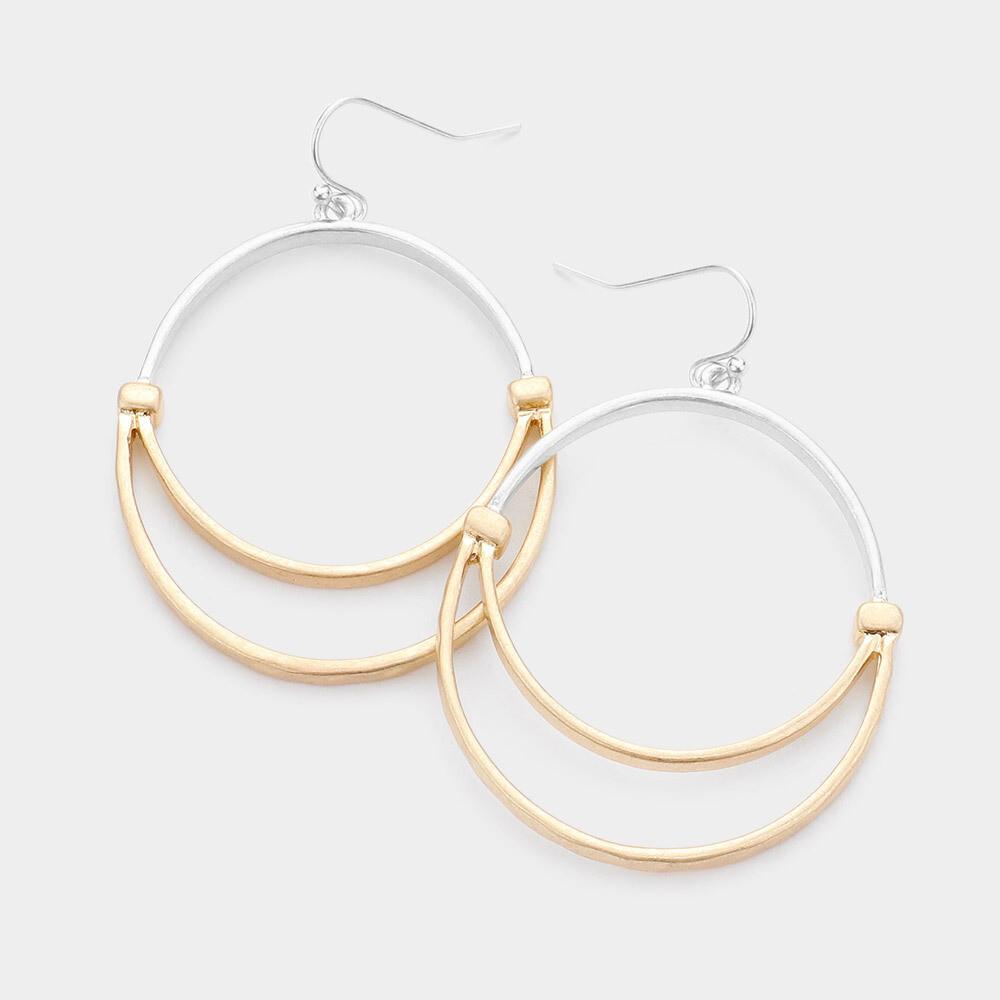 Double Hoop Gold & Silver Earrings