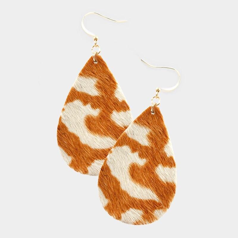 Burnt Orange & White Teardrop Cowhide Earrings
