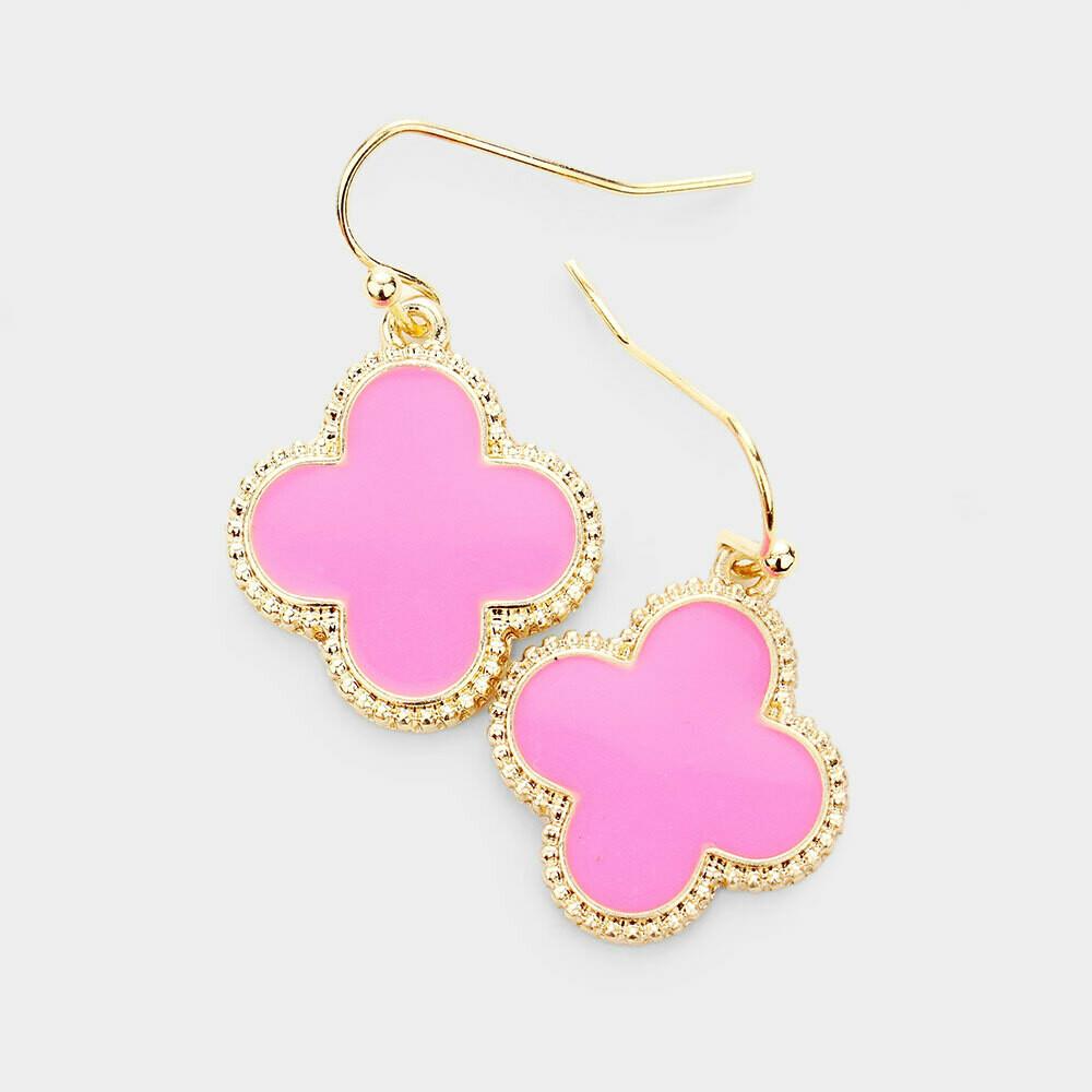 Hot Pink & Gold Quatrefoil Earrings