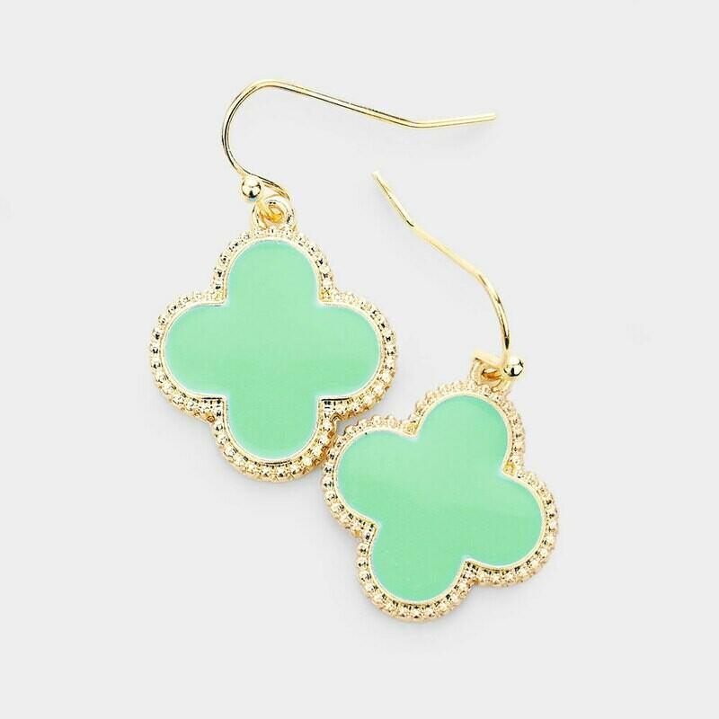 Lime Green & Gold Quatrefoil Earrings