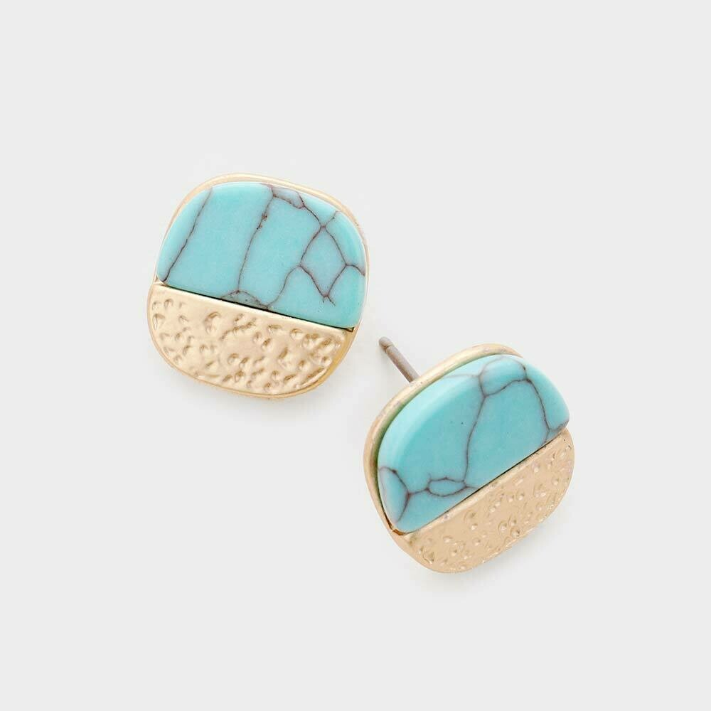Marble Matte Turquoise Blue Stone Earrings