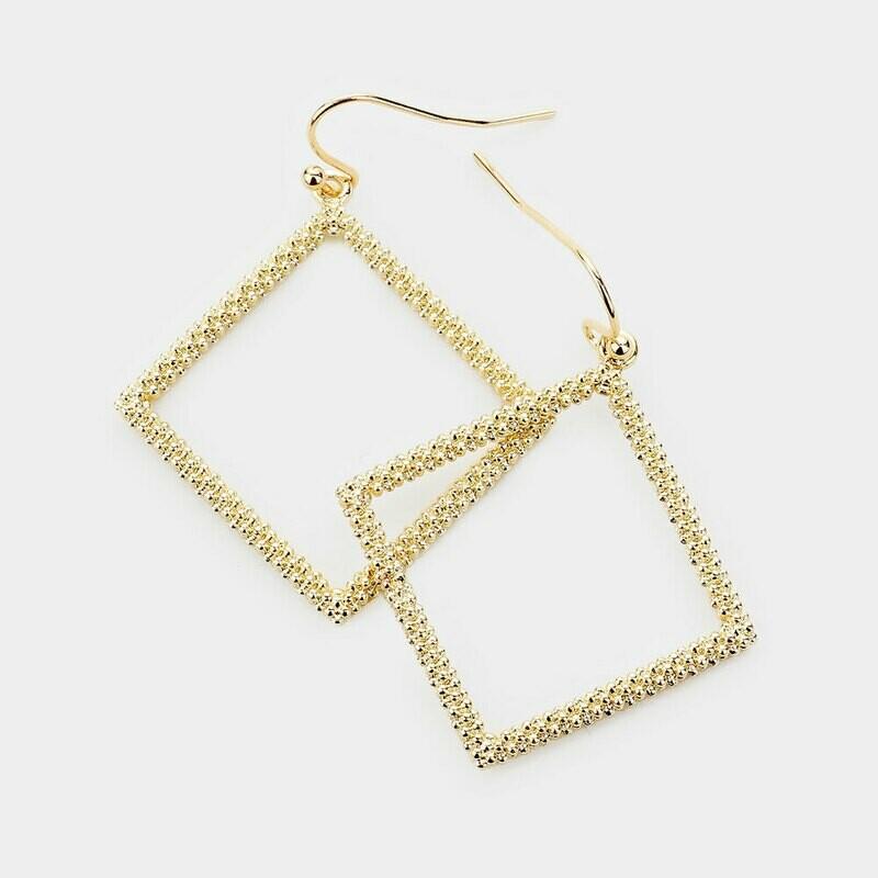 Beaded Gold Rhombus Earrings