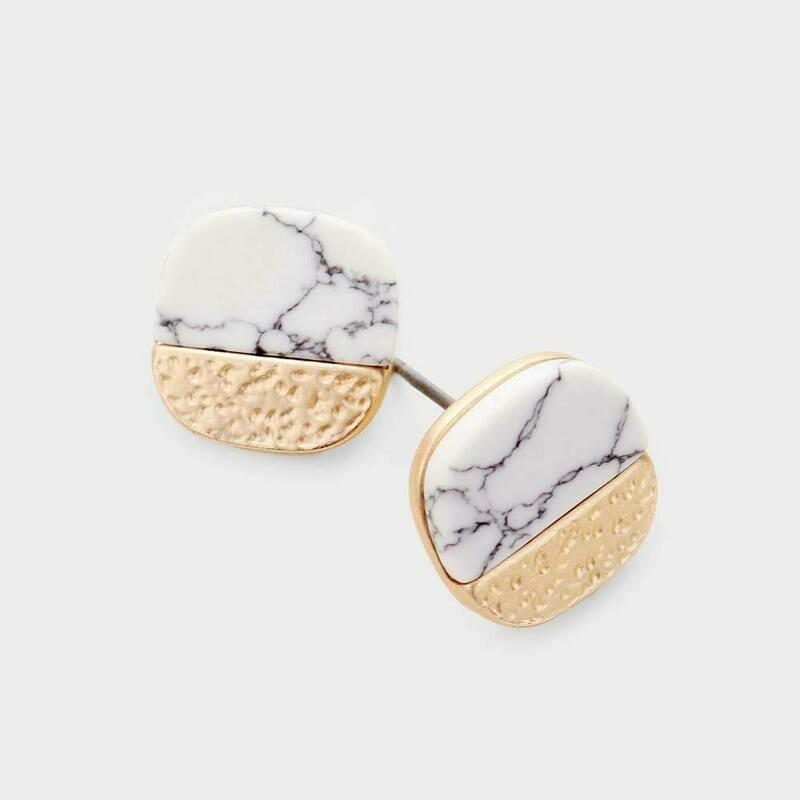 Marble Matte White Stone Earrings