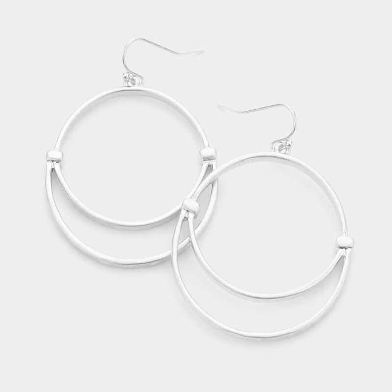 Double Hoop Silver Earrings
