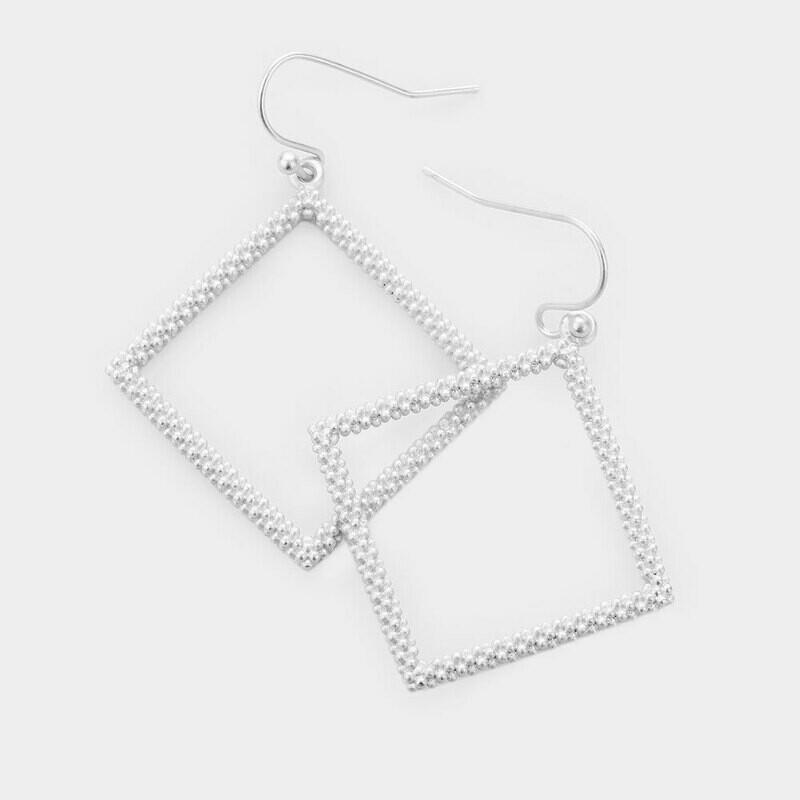 Beaded Silver Rhombus Earrings