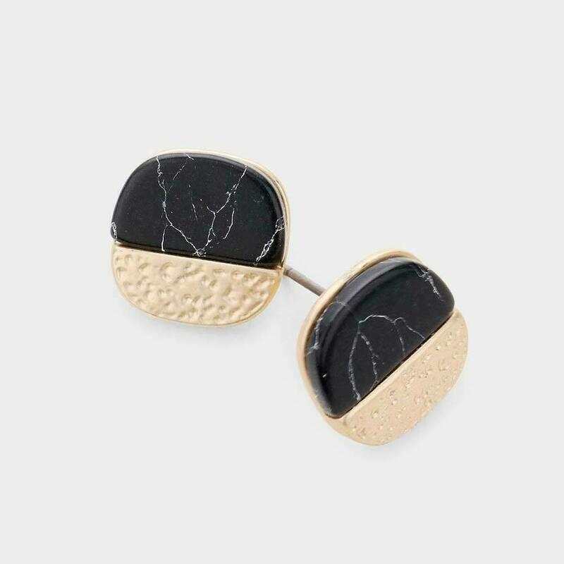 Marble Matte Black Stone Earrings