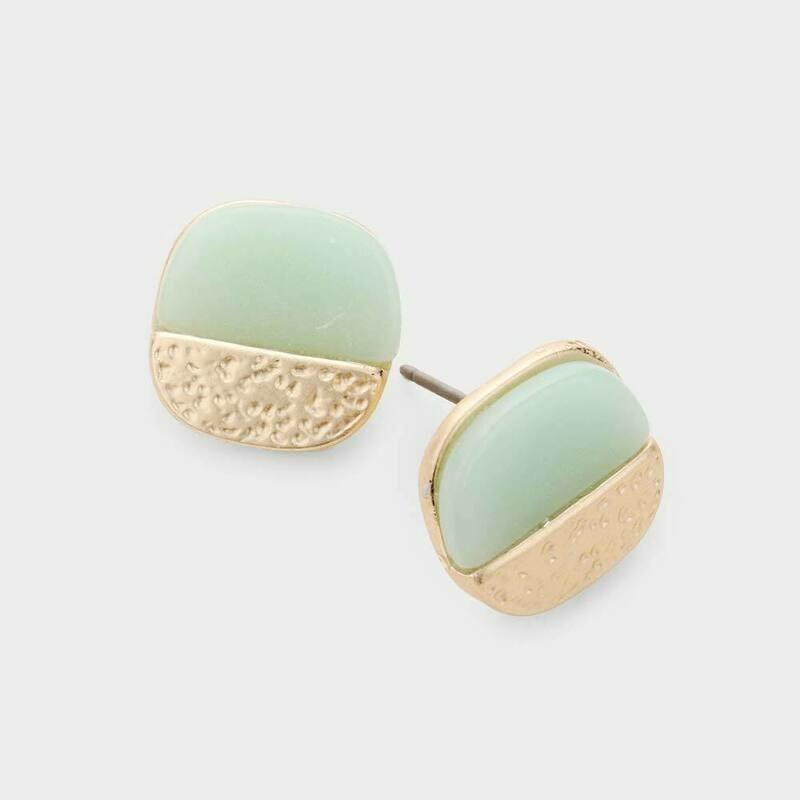 Marble Matte Mint Stone Earrings
