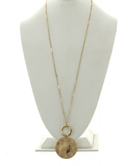 Long Gold Hammered Disc Pendant Necklace