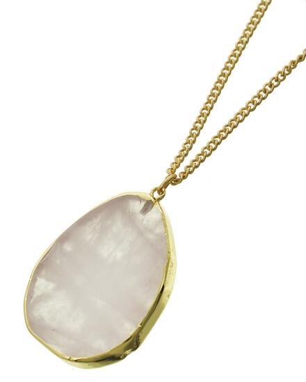 Long Gold Rose Quartz Pendant Necklace