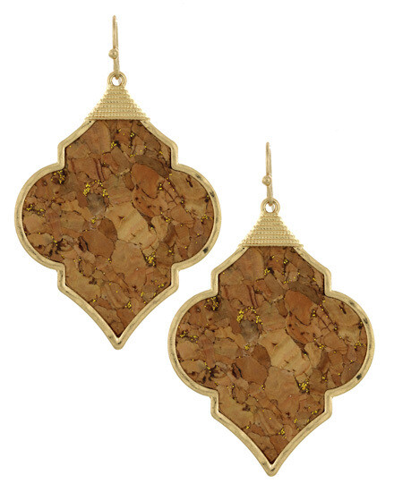 Quatrefoil Cork Earrings