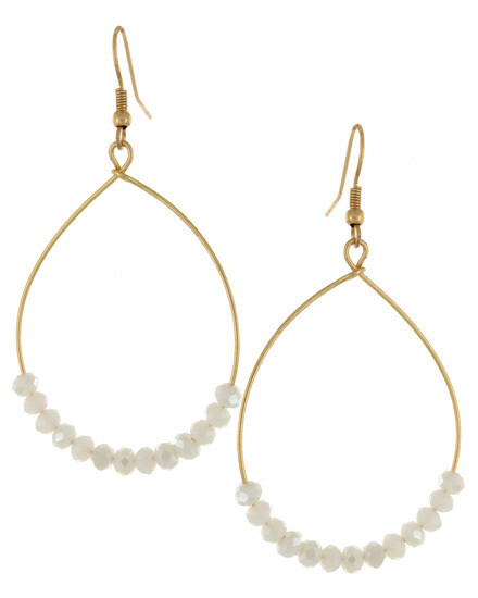 Gold Oval Hoop with White Beading Earrings