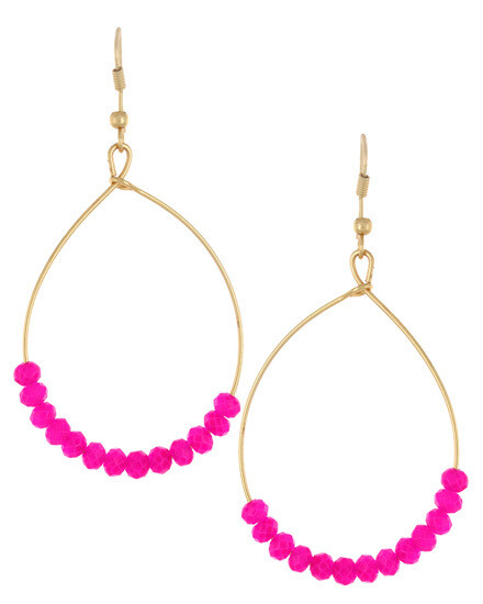 Gold Oval Hoop with Hot Pink Beading Earrings