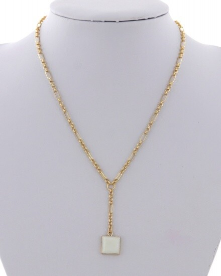 Gold Y Necklace with White Square Stone