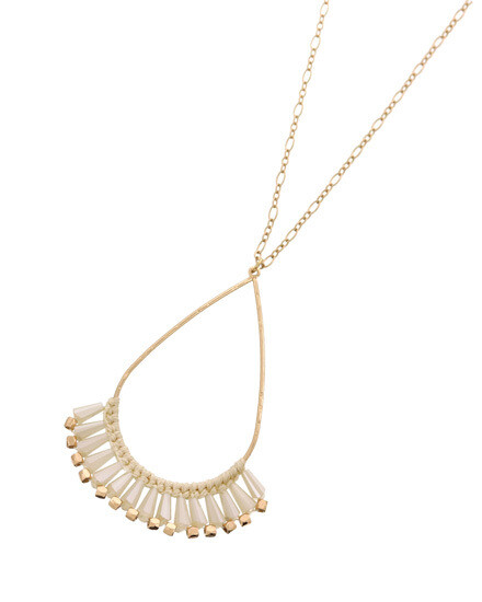 Long Gold Oval Hoop Necklace with White Beading