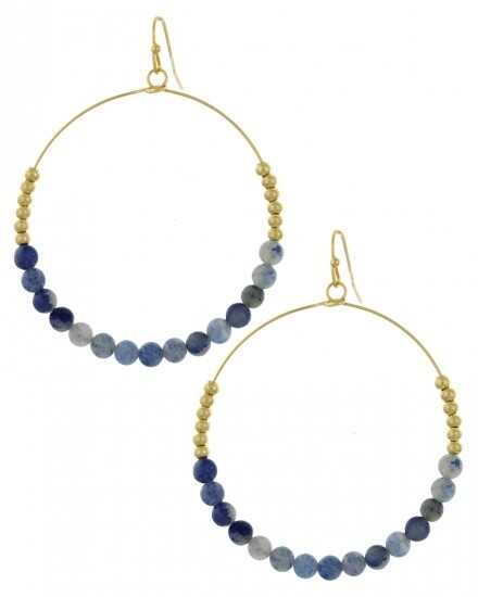 Gold Hoop Earrings with Blue Beading
