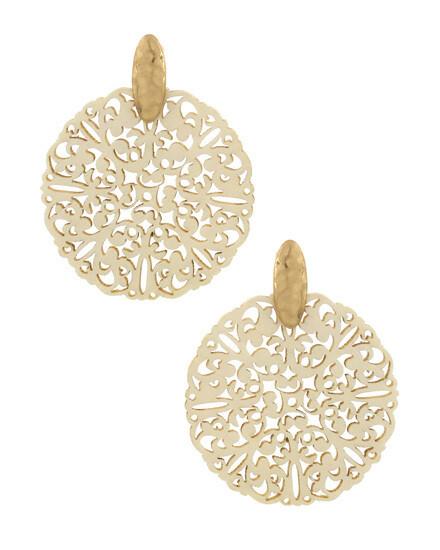 White Ornate Wood Post Earrings