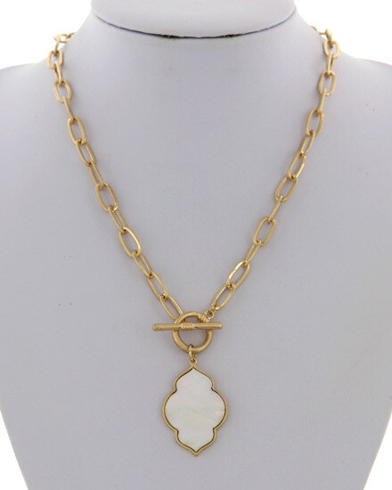 Gold & White Quatrefoil Necklace